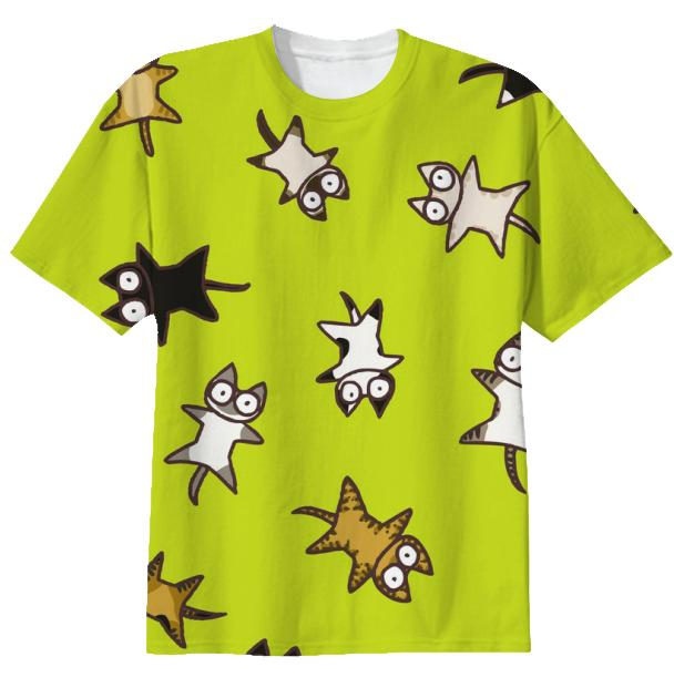 Lots of Cats Yellow green T shirt