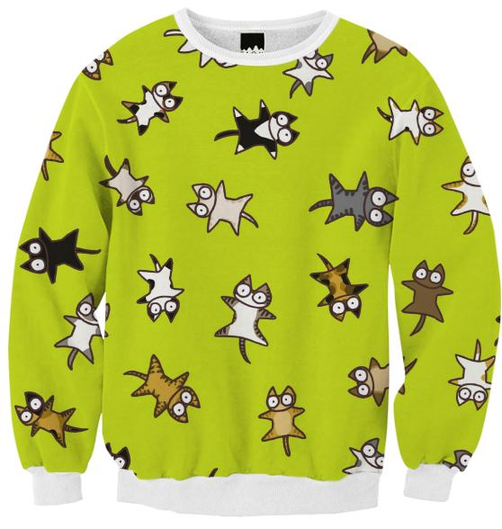 Lots of Cats Yellow green Ribbed Sweatshirt
