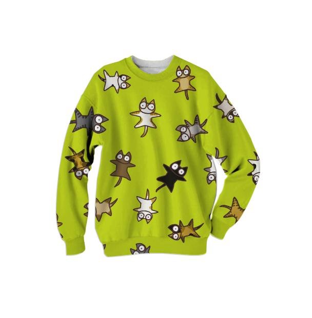 Lots of Cats Yellow green Sweatshirt