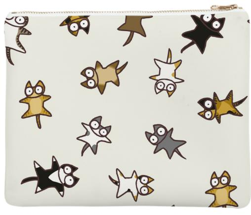 Lots of Cats Ivory white Neoprene Clutch