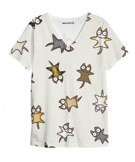 Lots of Cats Ivory white V Neck Shirt