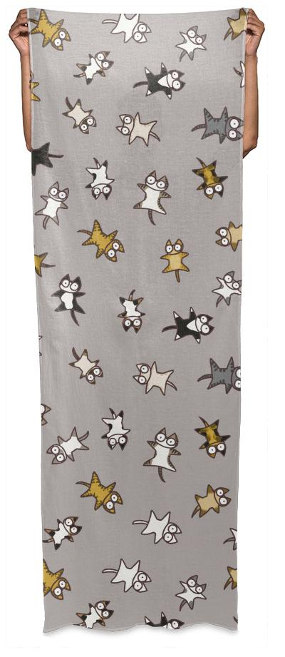 Lots of Cats Beige gray Wrap Scarf