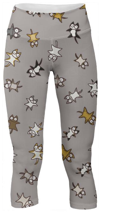 Lots of Cats Beige gray Yoga Pants