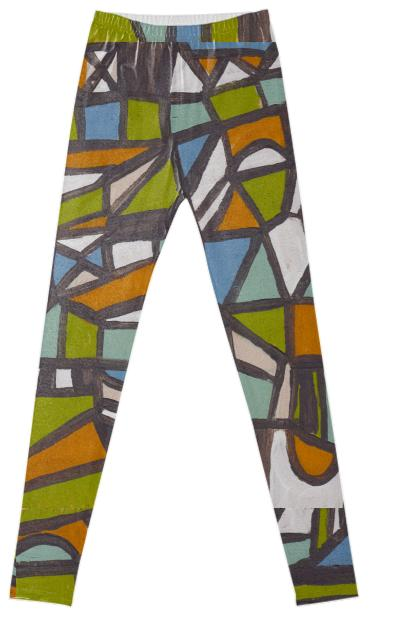 Tangerine Puzzle Leggings