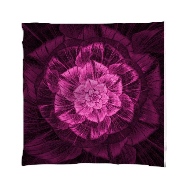 Pink Rose on Black Scarf