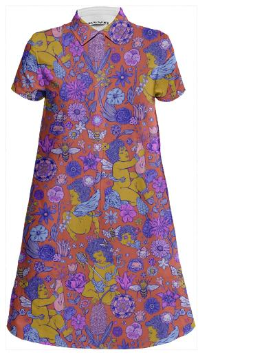 PAOM, Print All Over Me, digital print, design, fashion, style, collaboration, jordan-piantedosi, jordan piantedosi, Mini Shirt Dress, Mini-Shirt-Dress, MiniShirtDress, cherubee, spring summer, unisex, Linen, Dresses