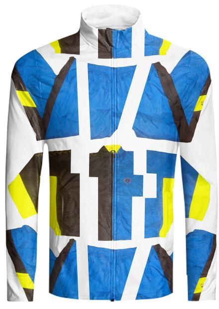 PAOM, Print All Over Me, digital print, design, fashion, style, collaboration, cheryl-donegan, cheryl donegan, Tracksuit Jacket, Tracksuit-Jacket, TracksuitJacket, ExtraLayer, Cut, Black, Blue, Yellow, autumn winter, unisex, Nylon, Outerwear