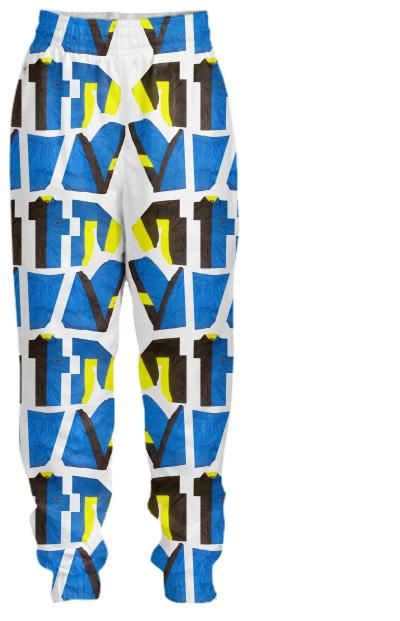 PAOM, Print All Over Me, digital print, design, fashion, style, collaboration, cheryl-donegan, cheryl donegan, Tracksuit Pant, Tracksuit-Pant, TracksuitPant, ExtraLayer, Cut, Black, Blue, Yellow, Pants, autumn winter spring summer, unisex, Nylon, Bottoms