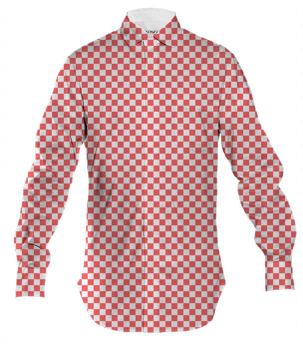 Red and White Checkered Buttown Down