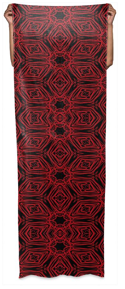 Black and red geometric diamonds 4999 wrap scarf