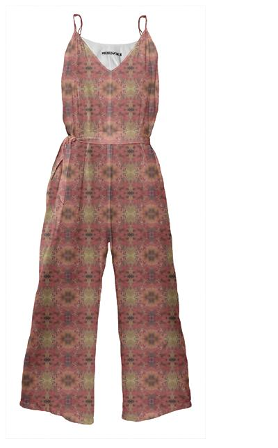 Floral Pink Patterned Tie Waist Jumpsuit