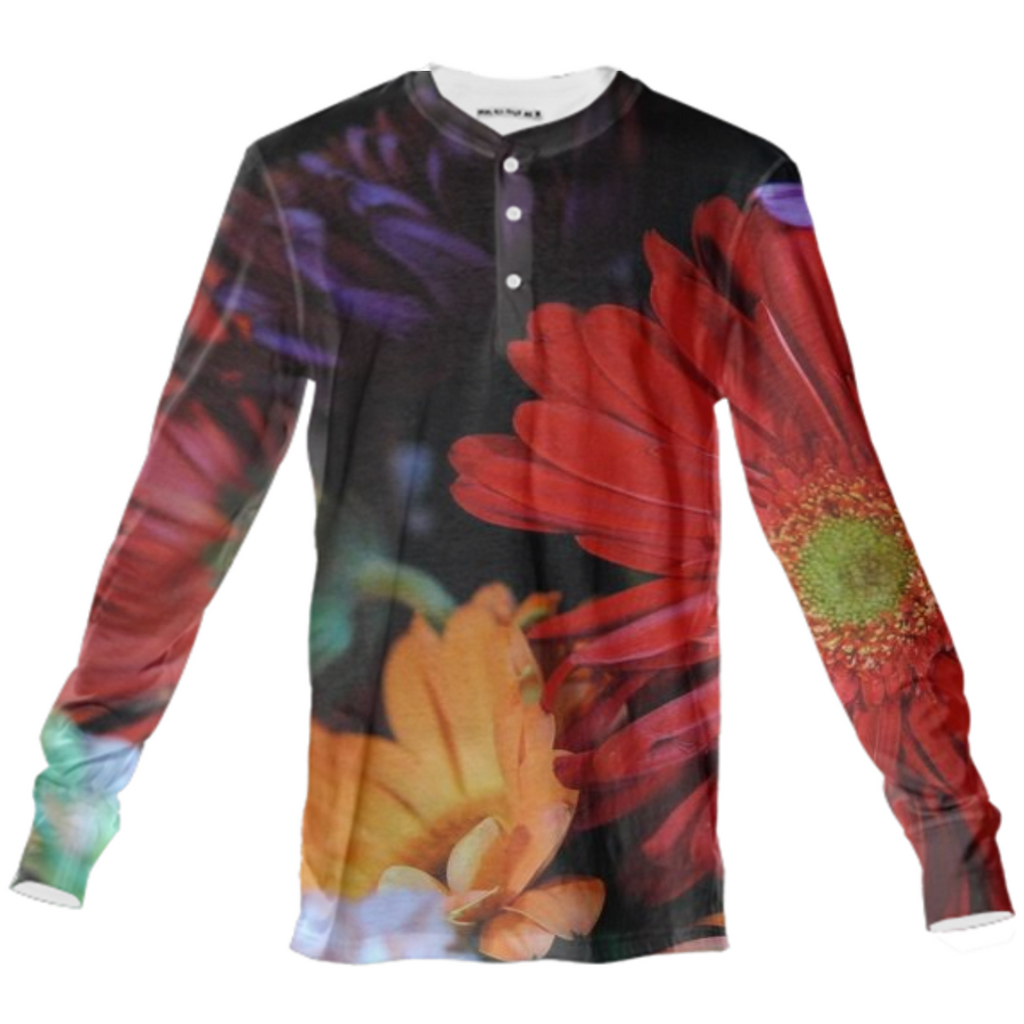 Mixed Flower Henley Shirt
