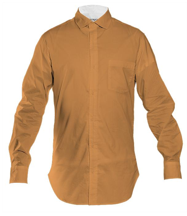 Men s Button Front Shirt Simply Solids Golden Pumpkin