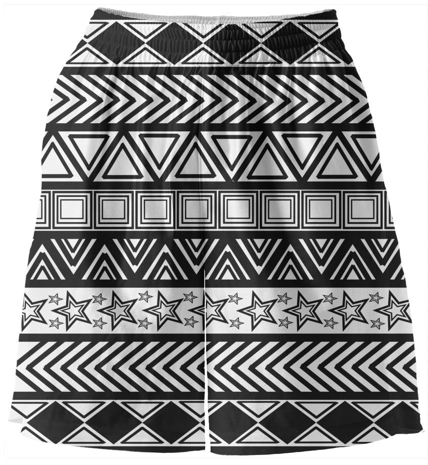 Black And White Tribal Basketball Shorts