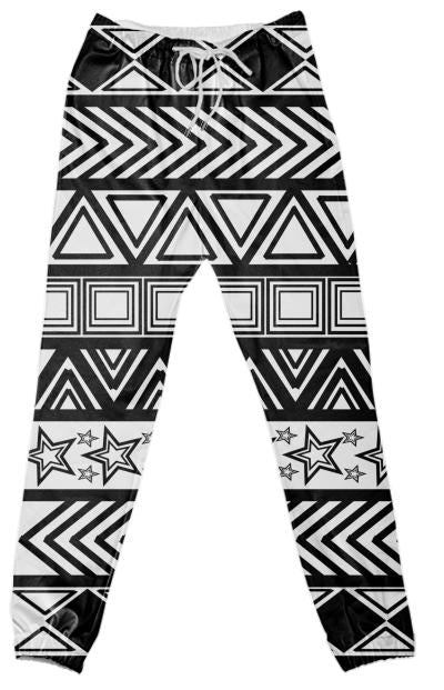 Black And White Tribal Art Pants