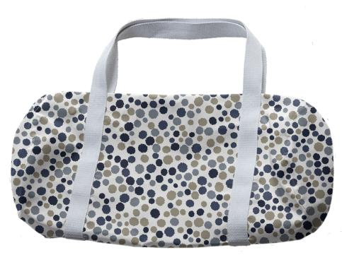 Blue and grey polka dot