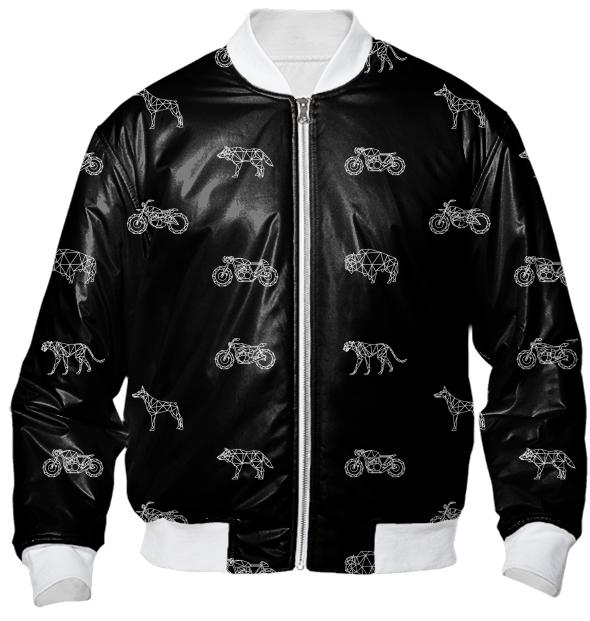 Soul Animals White on Black Bomber Jacket
