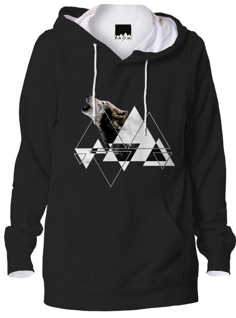Abstract Howling Wolf Hoodie