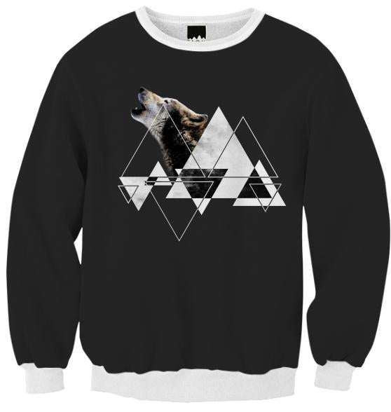 Abstract Howling Wolf Ribbed Sweatshirt