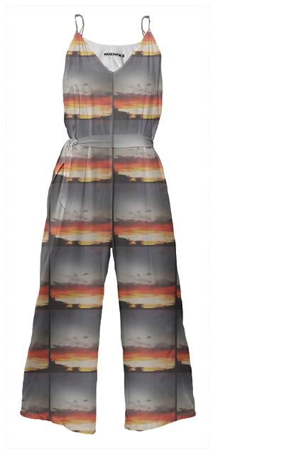 Sunset Clouds Tie Waist Jumpsuit