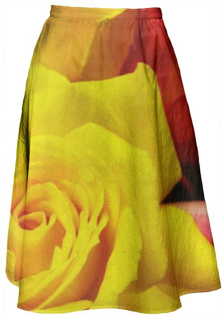 Yellow Rose Midi Skirt