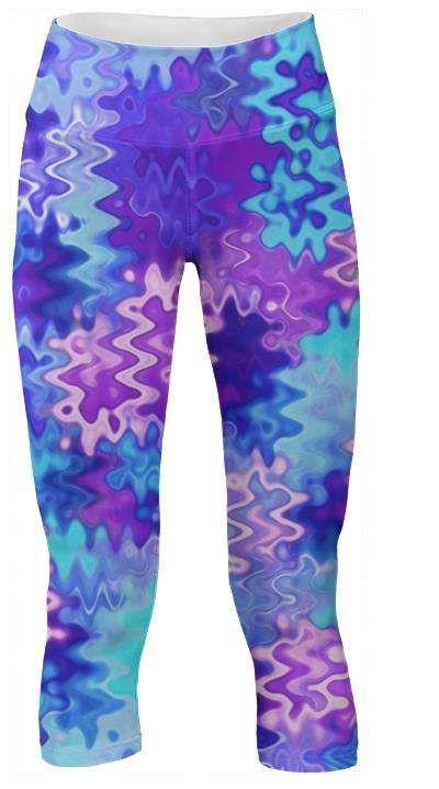 Blue and Purple Marble Waves Yoga Pants
