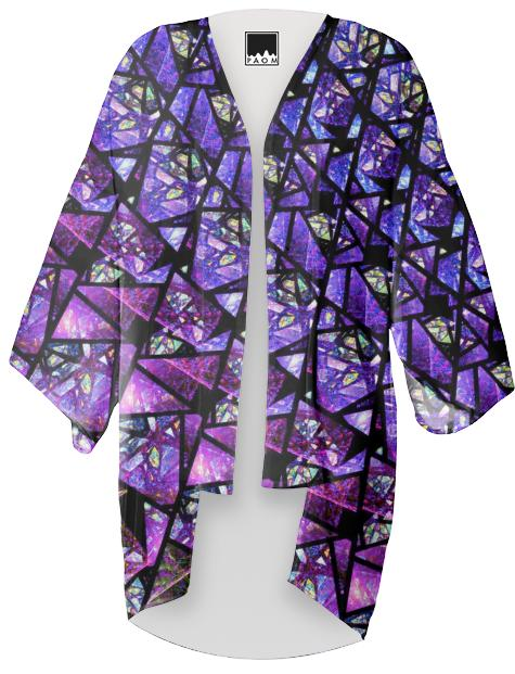 Blue and Purple Stained Glass Fractal Kimono
