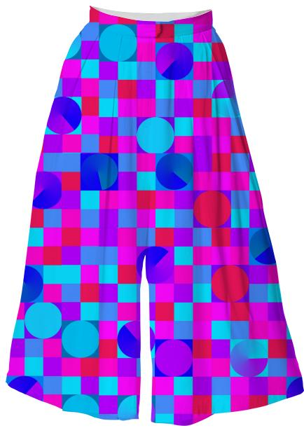 Pink and Blue Check Culotte
