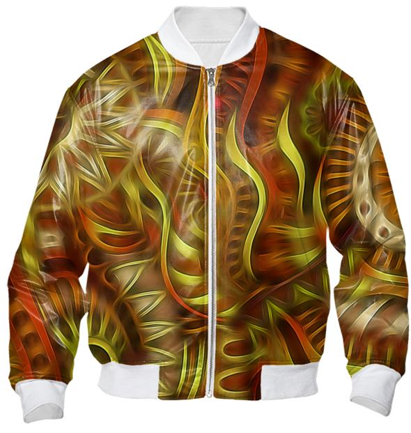 Brass Tribal Swirling Pattern Bomber Jacket