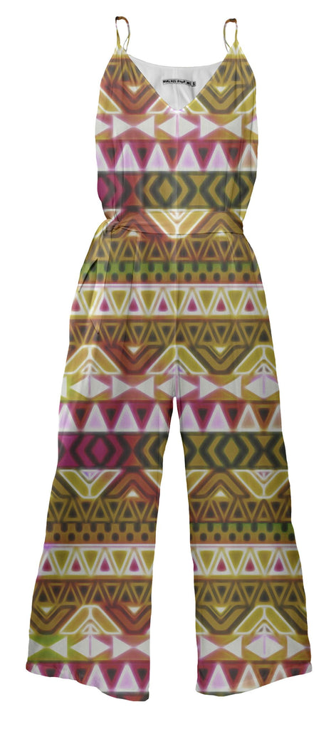Gold Tribal Pattern Jumpsuit