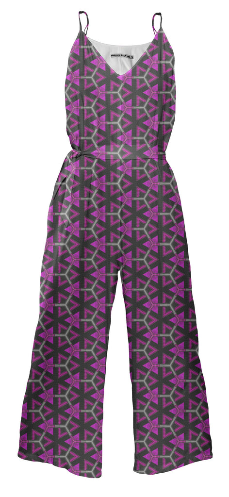 Hot pink triangles and honeycomb jumpsuit