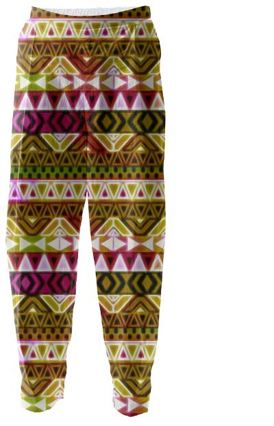 Gold Tribal pattern Relaxed Pants