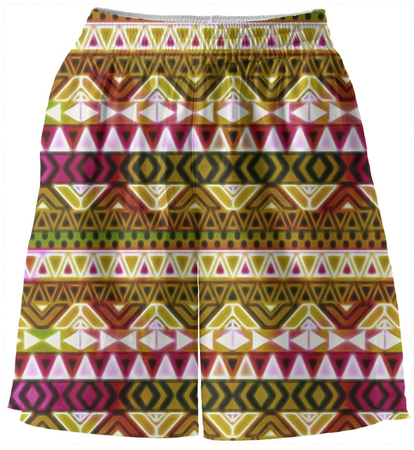 Gold Tribal Pattern Basketball Shorts