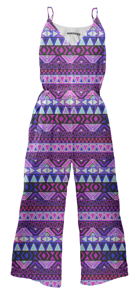 Purple Tribal Pattern Jumpsuit