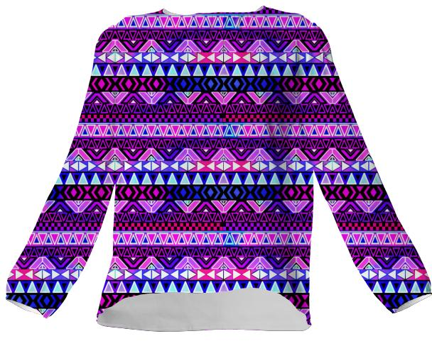 Purple Tribal Pattern Silk Shirt