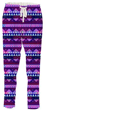 Purple Tribal Pattern Drawstring Pants