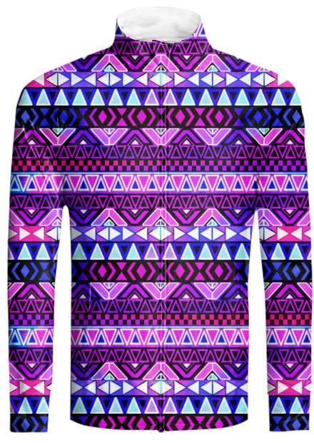Purple Tribal Pattern Summer Dress Tracksuit Jacket