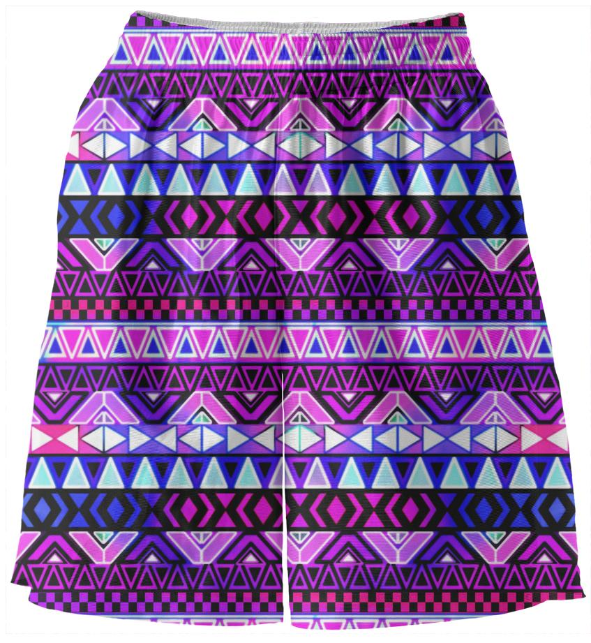 Purple Tribal Pattern Basketball Shorts