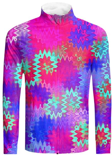 Pink Psychedelic Wavy Zigzag Tracksuit Jacket