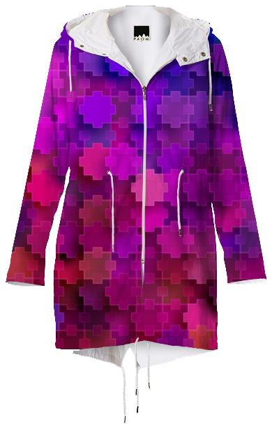 Strange Pink Square Puzzle Pieces Pattern Raincoat