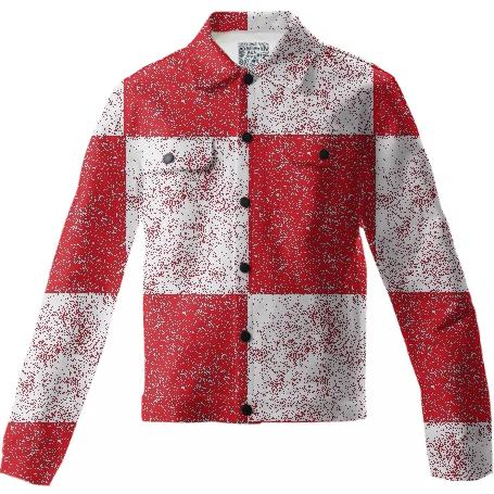 Frost Red and White Checkered Twill Jacket by LadyT Designs