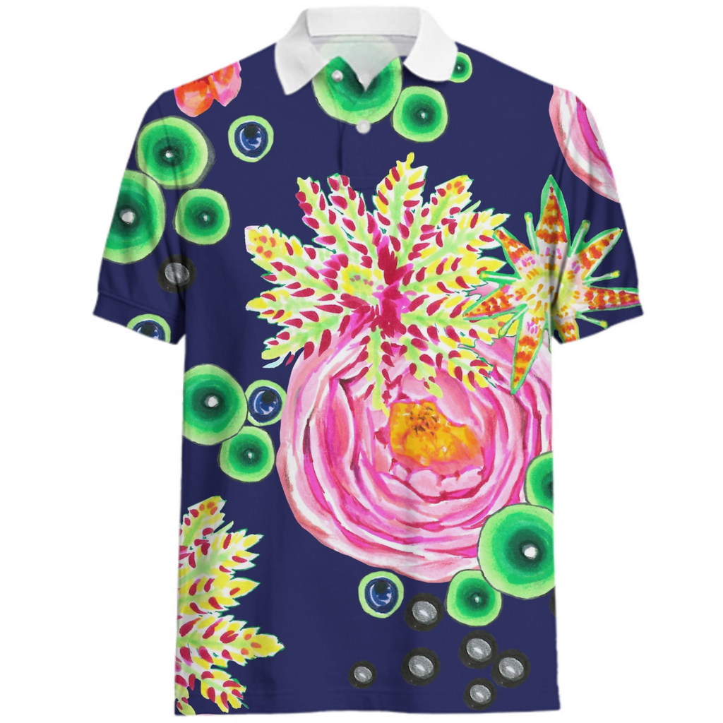 Hand drawn pink rose floral with neon green bubbles on navy