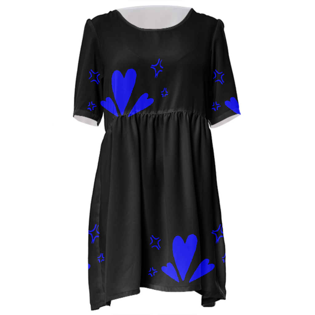 Black & Blue Heart Babydoll Dress