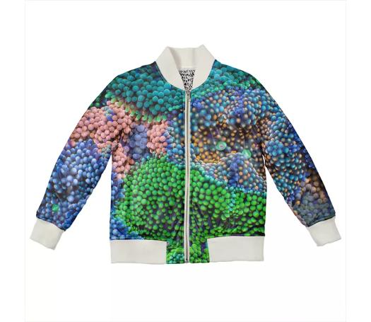 PAOM, Print All Over Me, digital print, design, fashion, style, collaboration, coral-morphologic, coral morphologic, Kids Bomber Jacket, Kids-Bomber-Jacket, KidsBomberJacket, Ricordea, autumn winter spring summer, unisex, Nylon, Kids