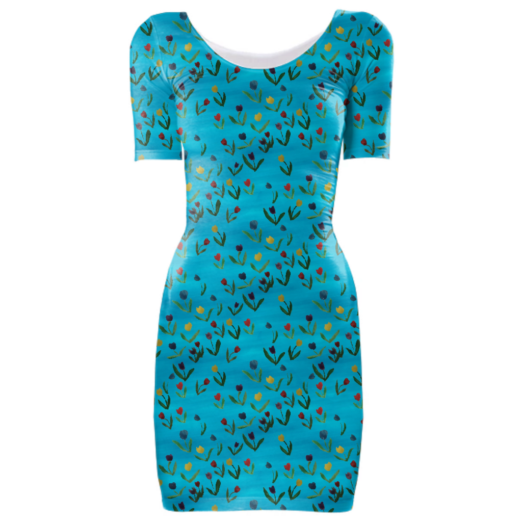 Tulips Pattern Bodycon Dress