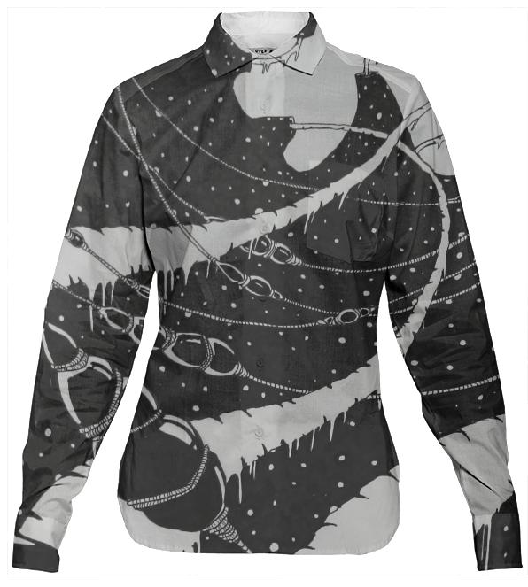 UNCHARTED SPACE ORIGINAL ART PRINT WOMAN S BUTTON DOWN