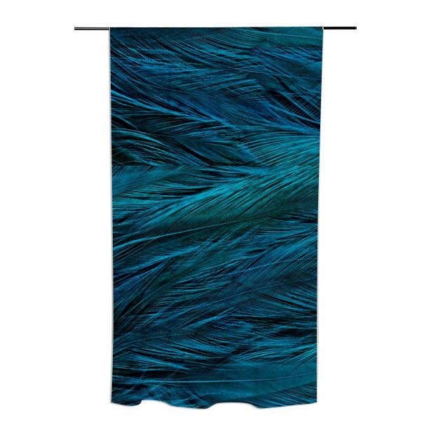 Teal Feather Curtains