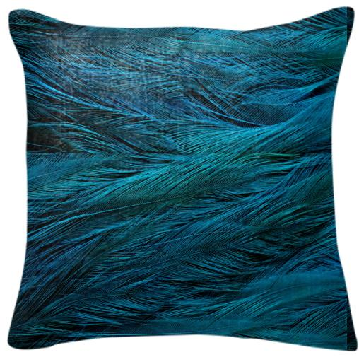 Teal Feather Pillow
