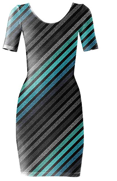 80s Striped Dress Teal Gray
