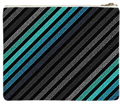 80s Striped Clutch Teal Gray